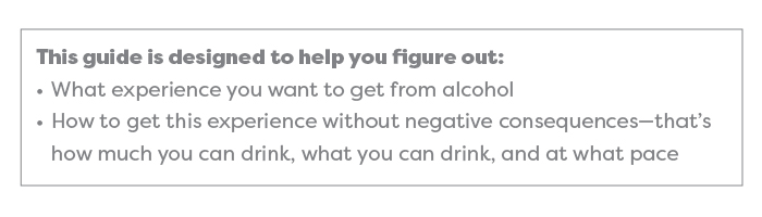 This guide is designed to help you figure out: What experience you want to get from alcohol and how to get this experience without negative consequences—that's how much you can drink, what you can drink, and at what pace