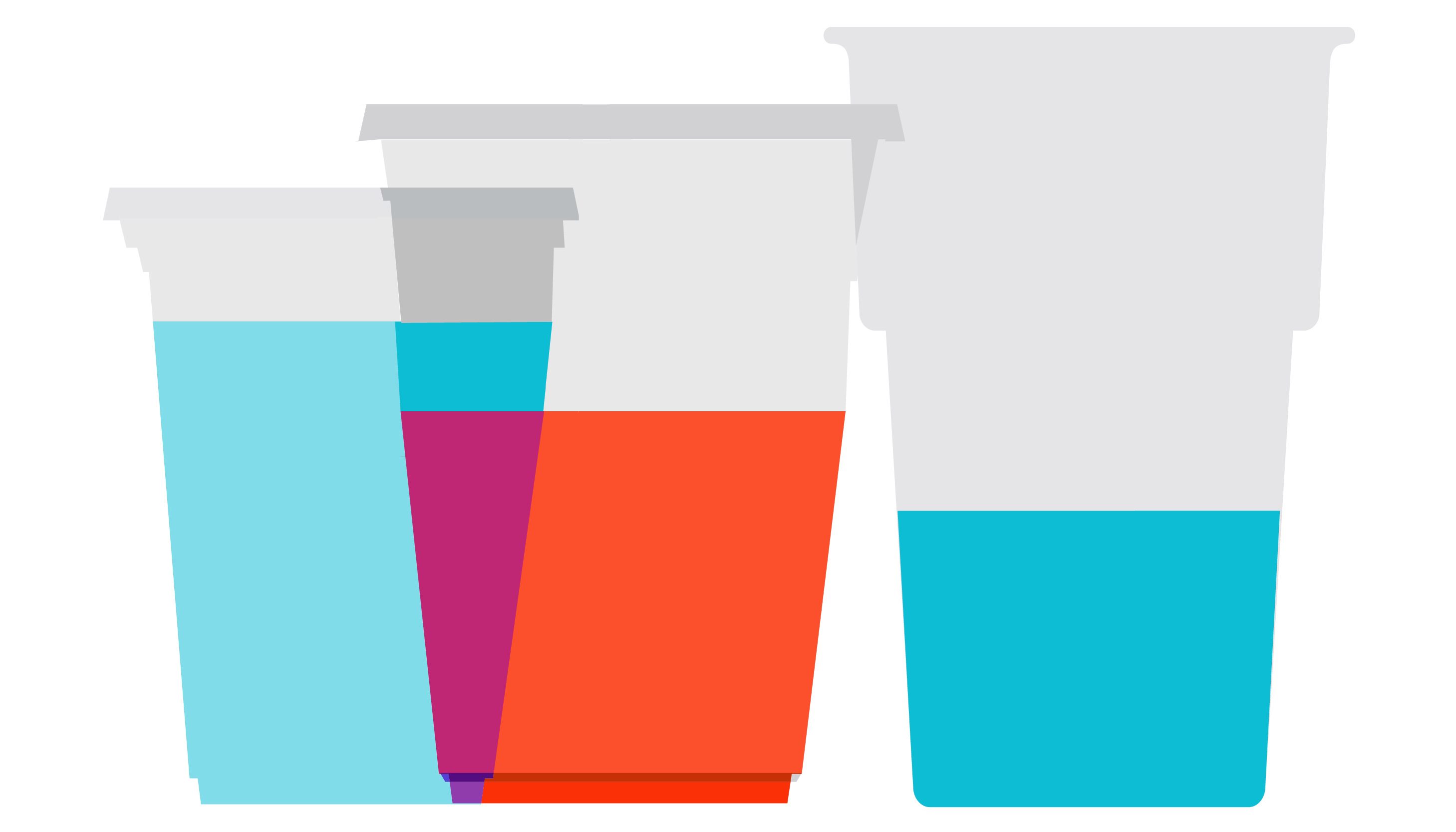 3 different sized solo cups with 5 fl oz of liquid each