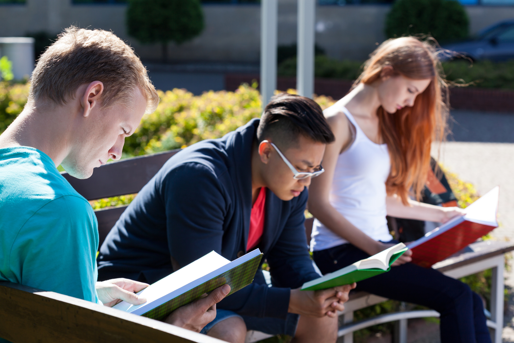 Group of mixed race students studying on a bench outside