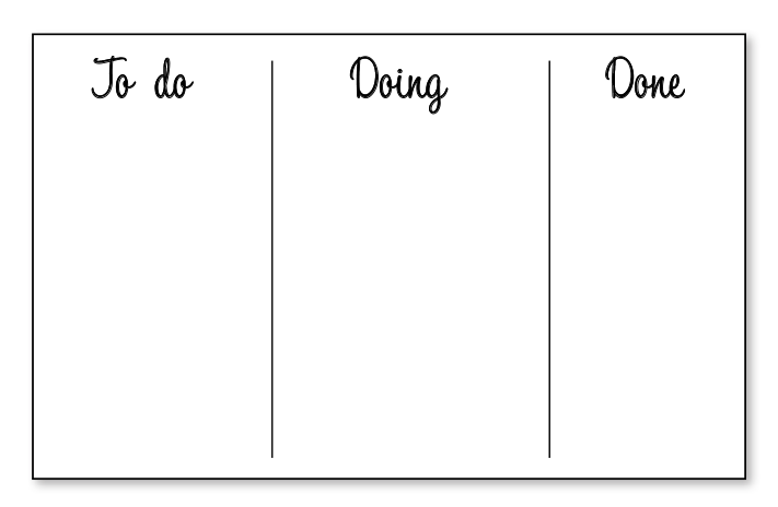 Empty Kanban board with the categories: To Do, Doing, and Done