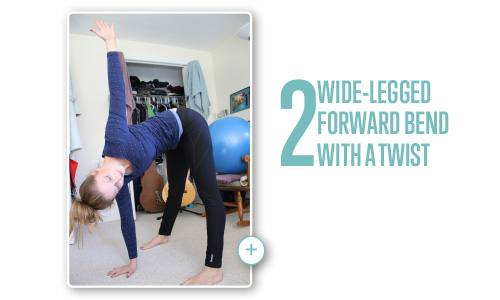 Wide-legged forward bend with a twist pose